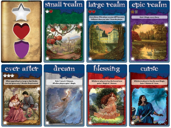 A sampling of many of the types of cards used in Upon a Fable