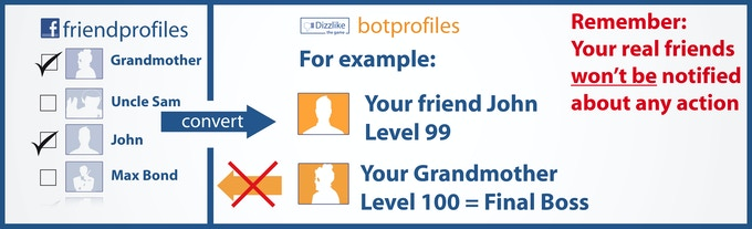 In Dizzlike you can customize your own levels and bosses! Choose which of your Facebook friends will be imported and assign them to a level.