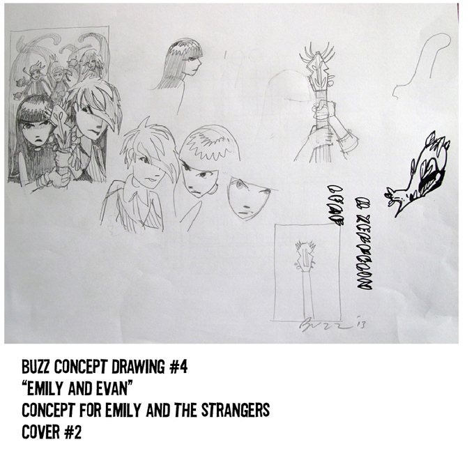 $250 REWARD, SOLD OUT! CONCEPT DRAWING #4. GREAT SKETCH OF EM + EV WITH THE BAND BEHIND + DOODLES!