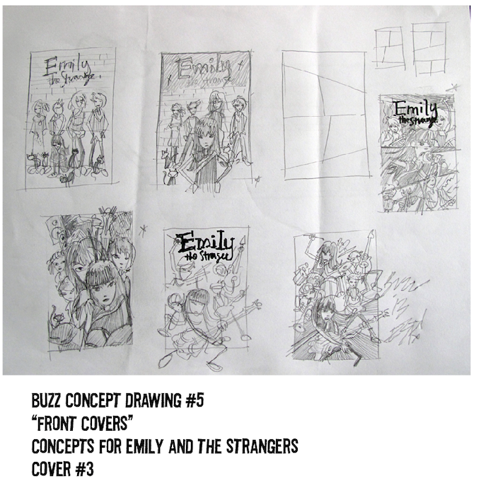 $250 REWARD, CONCEPT DRAWING #5. MORE STRAIGHT FROM THE MIND OF BUZZ PARKER. 6 SMALL COVER DESIGNS ON 1 PAGE!