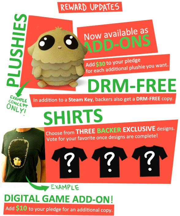 Update #6 - Plushie Add-ons, Shirts, and DRM news!
