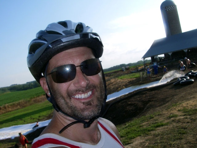 The author on RAGBRAI, before a home-made water slide