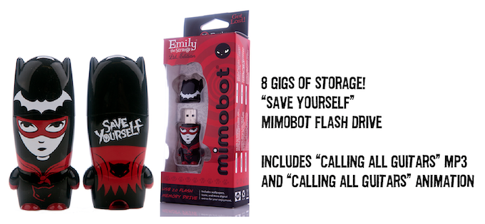 """8 GIG """"SAVE YOURSELF"""" MIMOBOT FLASHDRIVE. COMES WITH """"CALLING ALL GUITARS"""" MP3 + ANIMATION. THAT'S A LOT OF STORAGE FOR A LITTLE EMILY!"""