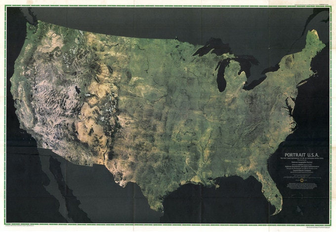 """""""Portrait U.S.A.: The First Color Photomosaic of the 48 Contiguous United State"""", National Geographic Magazine, July 1976."""