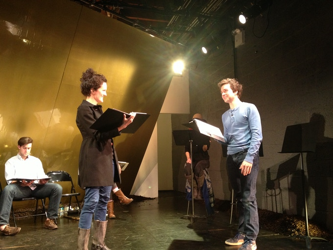 Erin Layton and Bryan Burton rehearse Tauris at the Wild Project