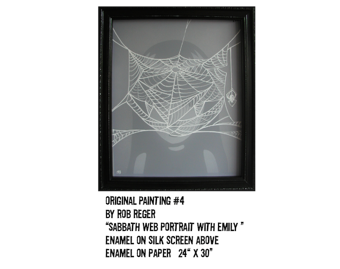 """$1,000 REWARD: Original Painting #4 by Rob Reger. This is a multi layered artwork. A web painting on screen, floating 2"""" above a painting of Emily behind it...It's almost magic!"""