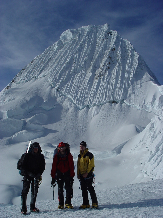 A buddy, Wayne, and RJ at 18,000 feet in elevation, on the way to Alpamayo (Peru)