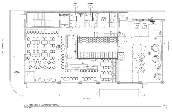 Jagged mountain craft brewery by jagged mountain craft for Brewery floor plan