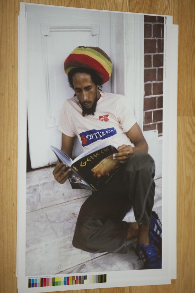 BOB MARLEY reads GENESIS I Know What I Like, on the doorstep of Island House, Hope Street, Kingston Jamaica. End of May 1980.