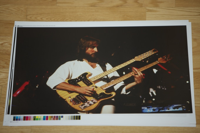 """Size: 20"""" x 26"""" - Balanced MIKE. A true Libra, Mike Rutherford performs on his legendary double neck guitar."""