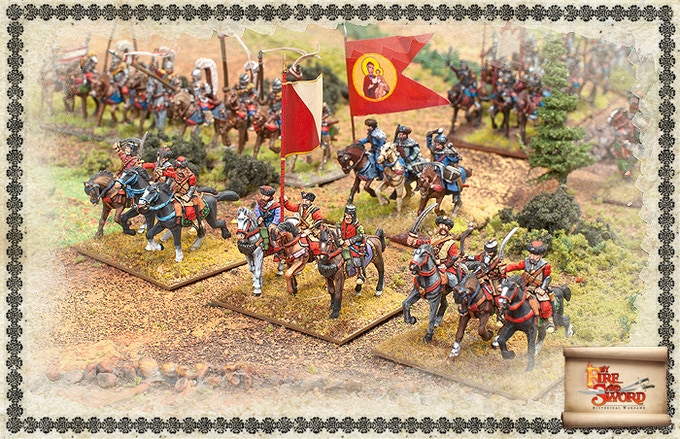 Polish cavalry on the battlefield.