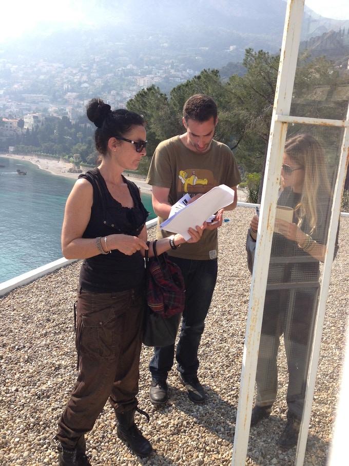 Director Mary McGuckian, Production Designer Emma Pucci and 1st Assistant Director David Baldari on location at the Villa E1027.