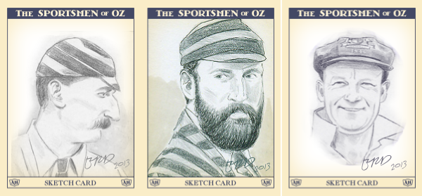 Mockup of Sportsmen of Oz sketchcards based on recent work