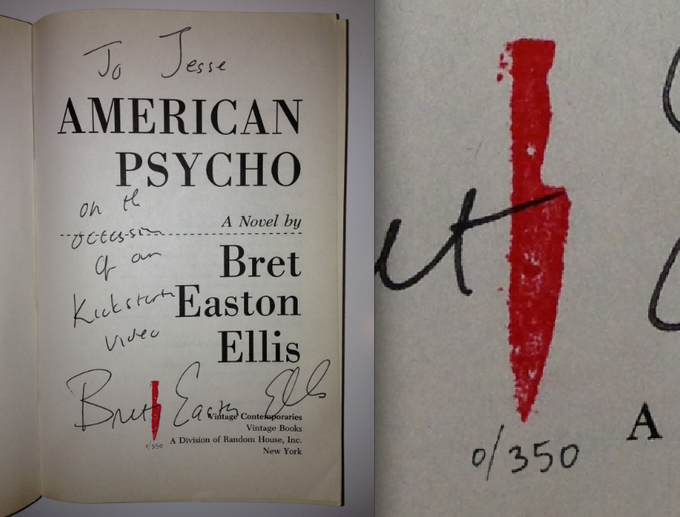 """Limited """"Red Knife"""" series of the Vintage paperback copy of American Psycho, signed and personalized by Bret Easton Ellis"""