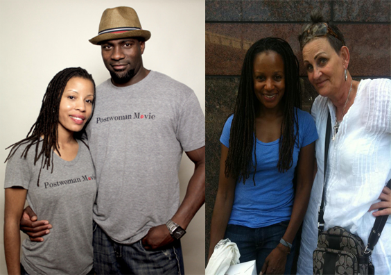 ON THE LEFT: JD Walker with the Postwoman's husband, Van Brown. ON THE RIGHT: Margaret Kemp, our lead actress, with Andrea Krauss of Here Media.