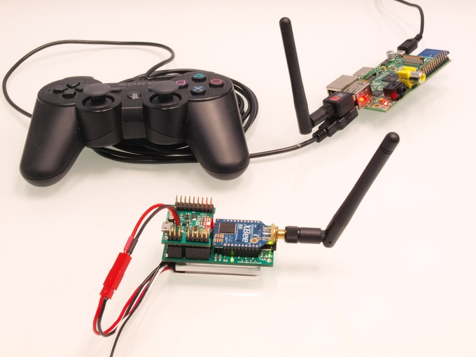 The AshimaCore's WiFi receiver allows for commanding via familiar control devices. We have used a game controller with a Raspberry Pi as a transmitter to fly our quadcopter.