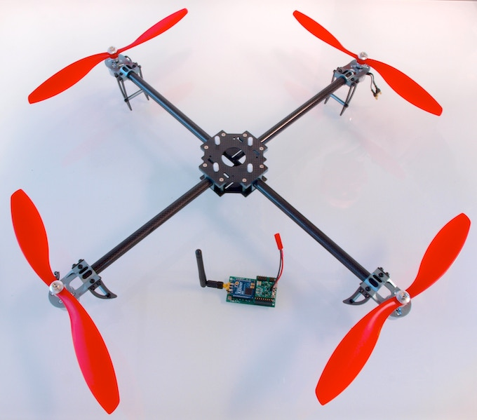 High quality multirotor frames are now so readily available, varied, and easy to assemble it makes little sense to lock a flight controller into just one. We originally made our own metal frame, but off-the-shelf carbon fiber frames are now hard to beat!