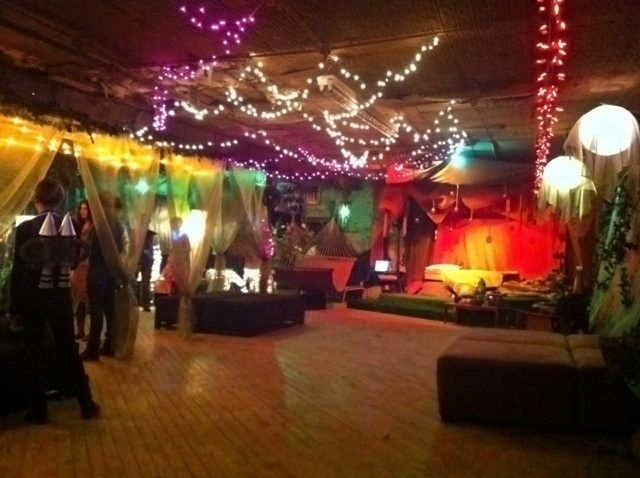 The G&S Loft set up as a fairy forest for an immersive production of Midsummer Night's Dream earlier this year