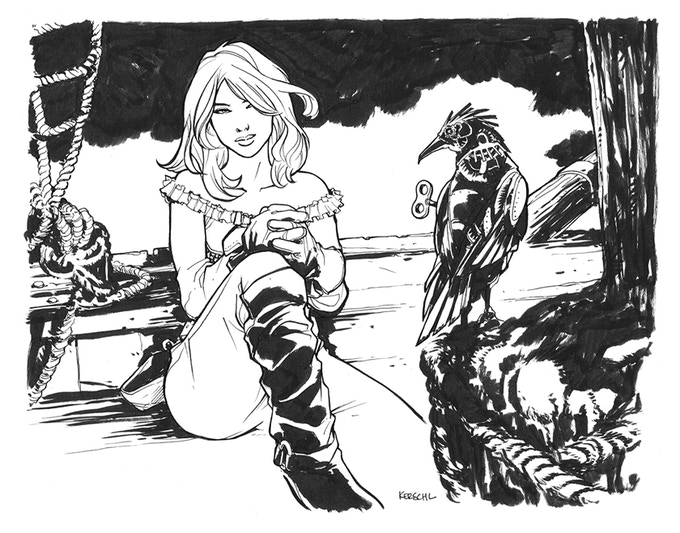 One of the pin-ups, contributed by the amazing Karl Kerschl.