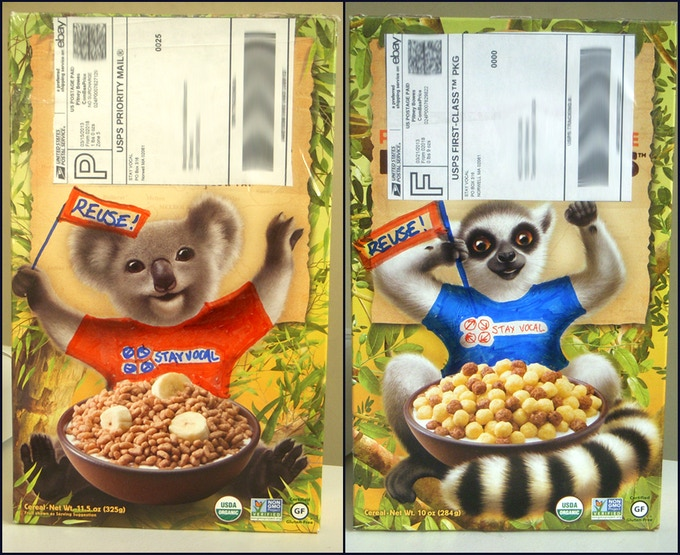Reusing cereal boxes for STAY VOCAL saves money, resources and is obviously totally fun!