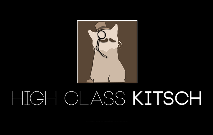 The High Class Kitsch logo and our mascot, Kitschy Kitty.