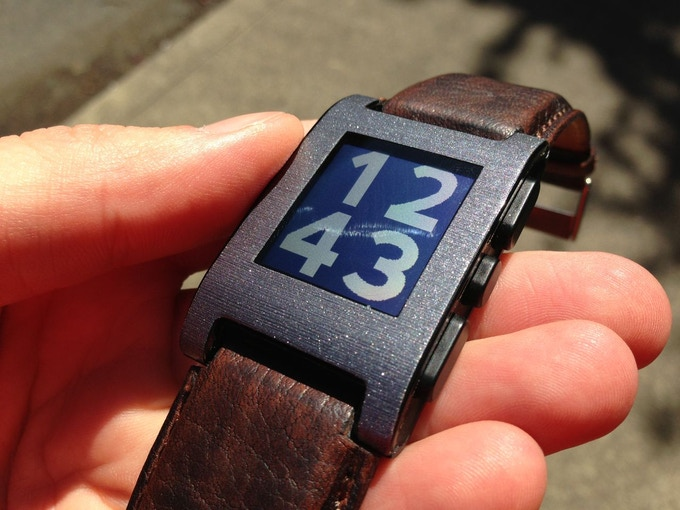 """dark """"cigar"""" brown leather prototype with GadgetWraps """"brushed steel"""" wrap"""