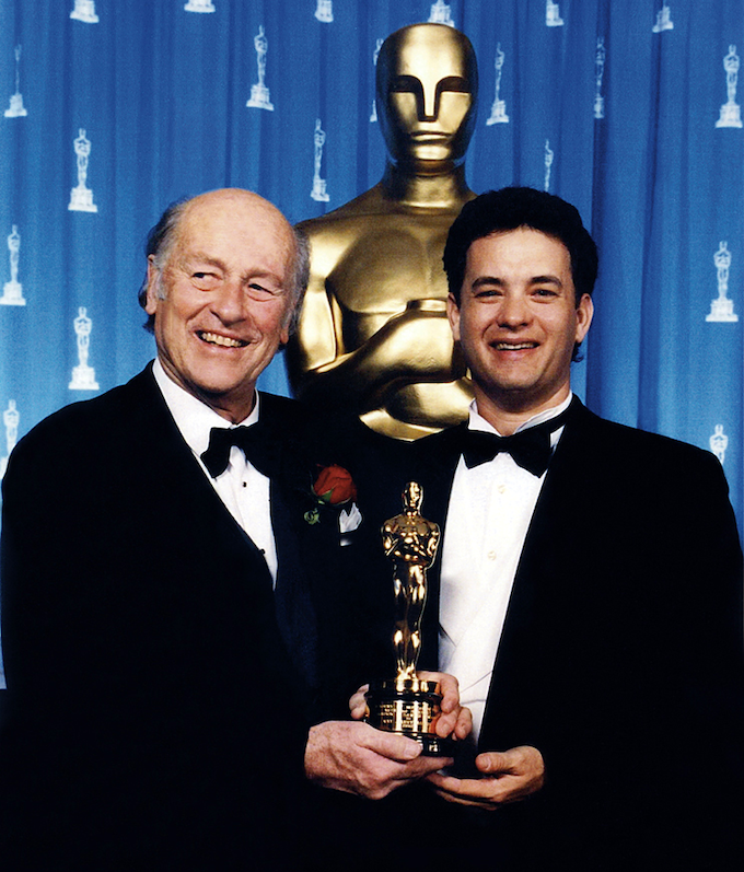 """Harryhausen fan Tom Hanks, host of Ray's Oscar® presentation on March 7, 1992, contributed the Foreword to """"Majicks"""" Vol. 1. A lengthy account of the Oscar® campaign and the festivities is presented with numerous photos. (Oscar® statuette ©A.M.P.A.S.®)"""