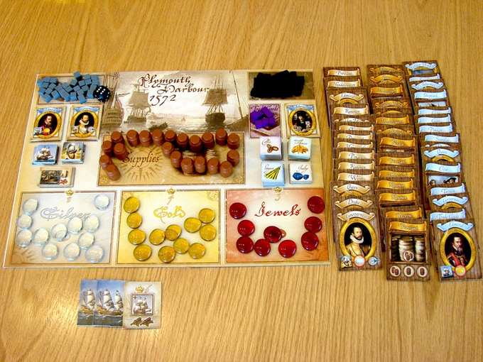 The supply board set up and extra cards for 3,4 or 5 players