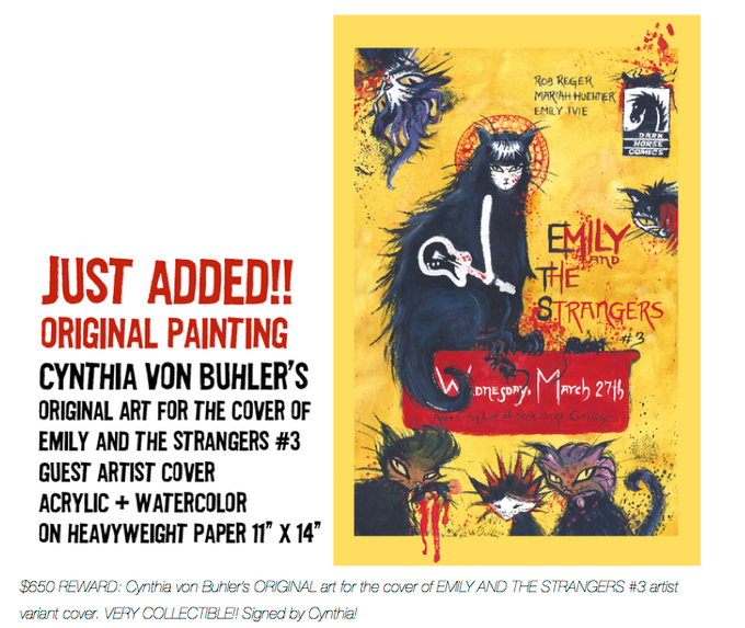 """$650 REWARD:  Cynthia von Buhler's ORIGINAL painting for the cover of EMILY AND THE STRANGERS #3 artist variant cover. 11"""" x 14""""  VERY COLLECTIBLE!!! Thanks Cynthia!"""