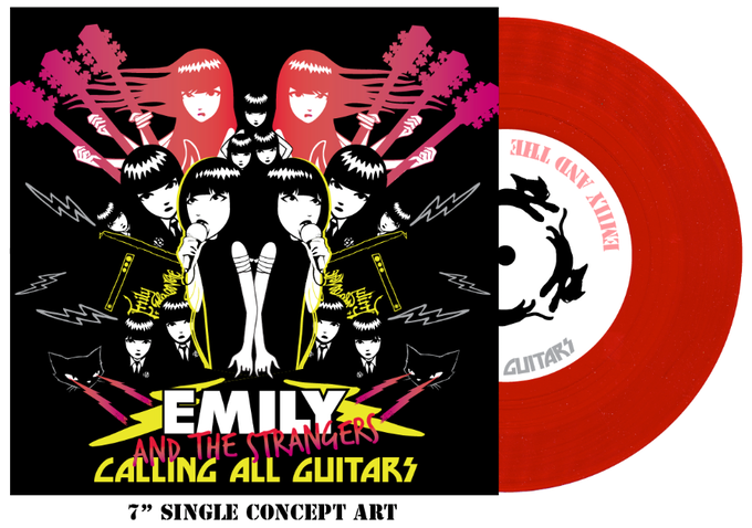 """CONCEPT for the 7"""" RECORD cover art. RED VINYL. Check out the CATS that will be running in circles on your turntable!!"""