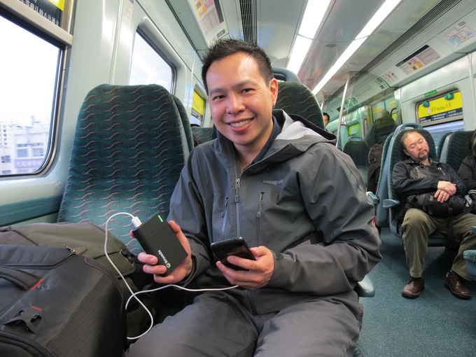 After visiting our manufacturer, Paul Lin (CEO) tests an engineering sample of the L130X to charge his Google Nexus 4 smartphone.