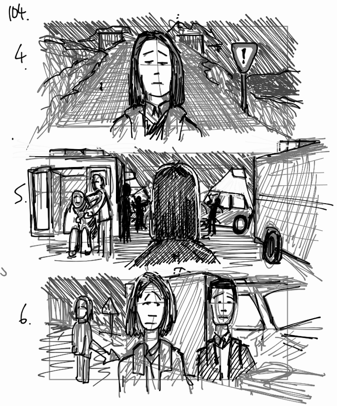 An extract from the storyboards for the car crash scene. If you pledge you will be able to see the full sequence in storyboards.