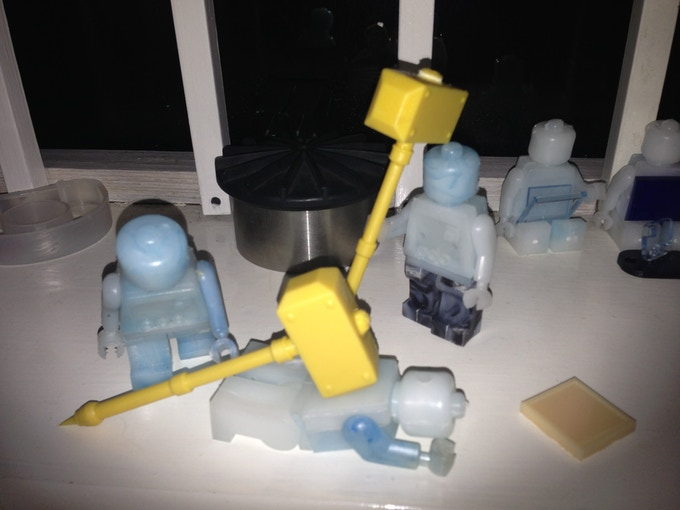 PDC's giant brick men (another story!) play testing the 2-handed hammers (at 1:6 scale!?)