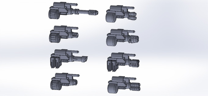CAD models of the heavy weapons