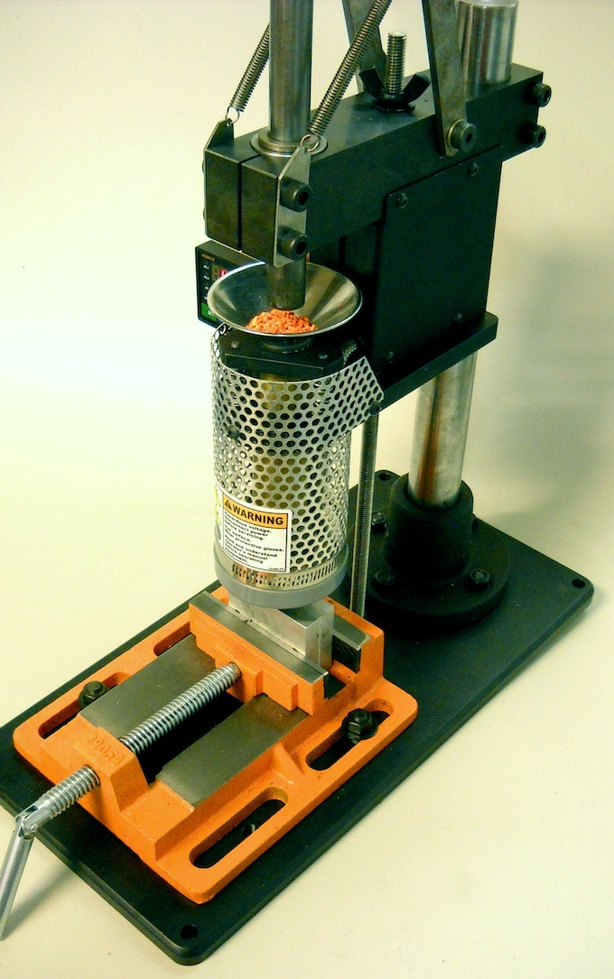Another view of the prototype showing the basic mold vise that comes standard with the machine.