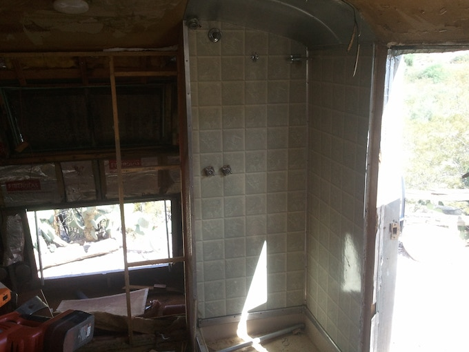 Half the bathroom removed - they completely blocked off the rear door.