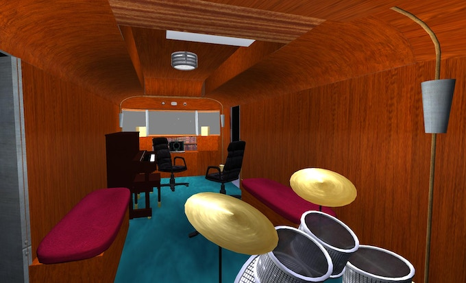 Here's some 3D design work I've been doing...imagine a couple little bistro tables where the drums are, and the desk folding away into the bulkhead.