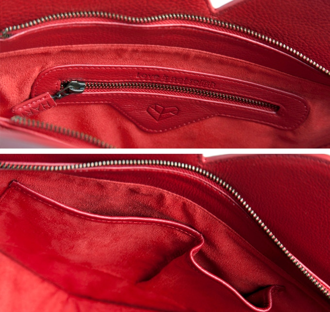 Interior Detail. Each bag has one zip pocket and two slide pockets.