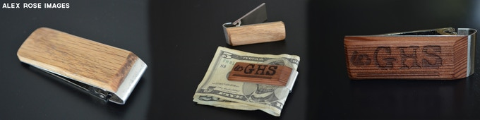 Pick from a list of reclaimed woods and customize your money clip with a phrase, name, initials, logo and more!