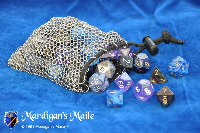 100% Stainless Steel Chain Mail Dice Bag for holding your Dwarven Miner dice in style! (Dice shown, not included)