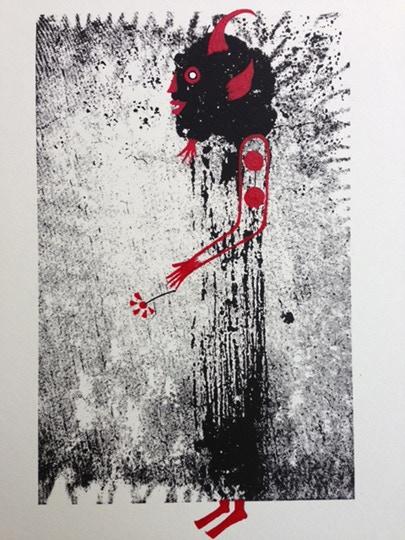 Dark Firecracker, original gum study painting in progress