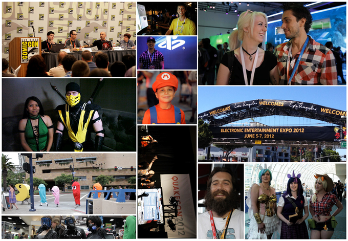 A small sampling of some of our location shoots the past year (E3, Comic Con, Quake Con, etc.)