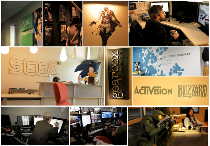A small sampling of the different game studios we have visited while shooting.