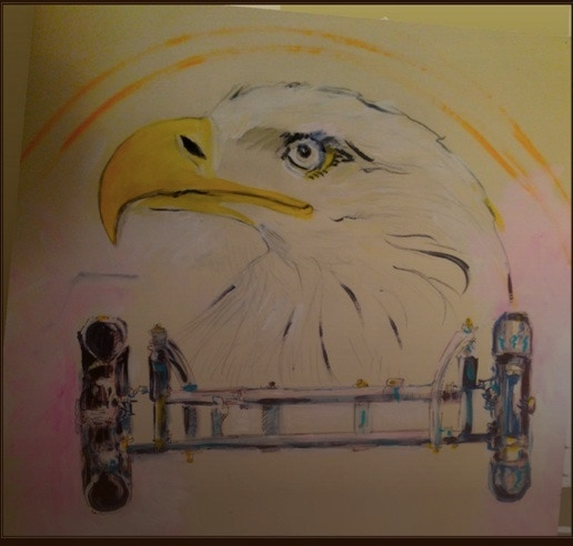 "Phoebe's painting of her dream: Eagle said, ""Build an Eagle bicycle for your people!"""