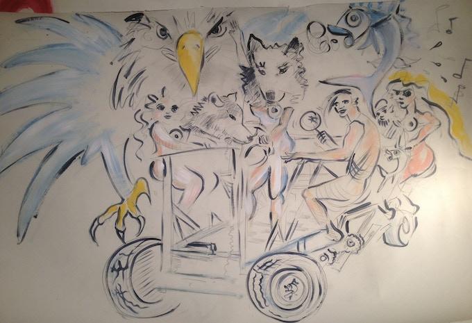 Phoebe's drawing of Shamans and Spirit Power Animals Riding the Shamancycle