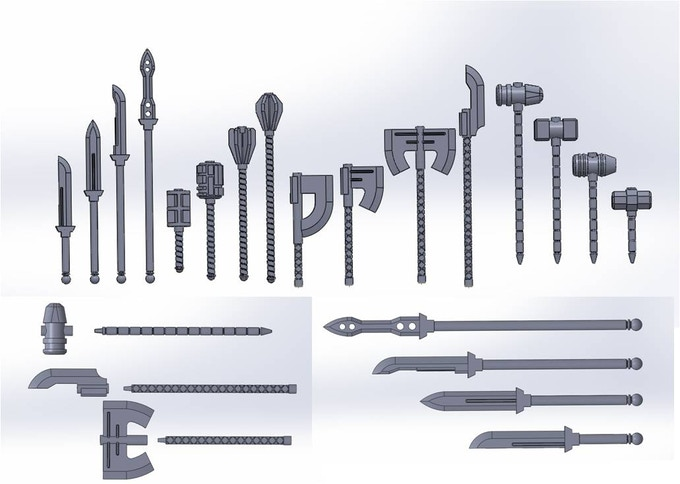 Handles, shafts and heads are all interchangeable