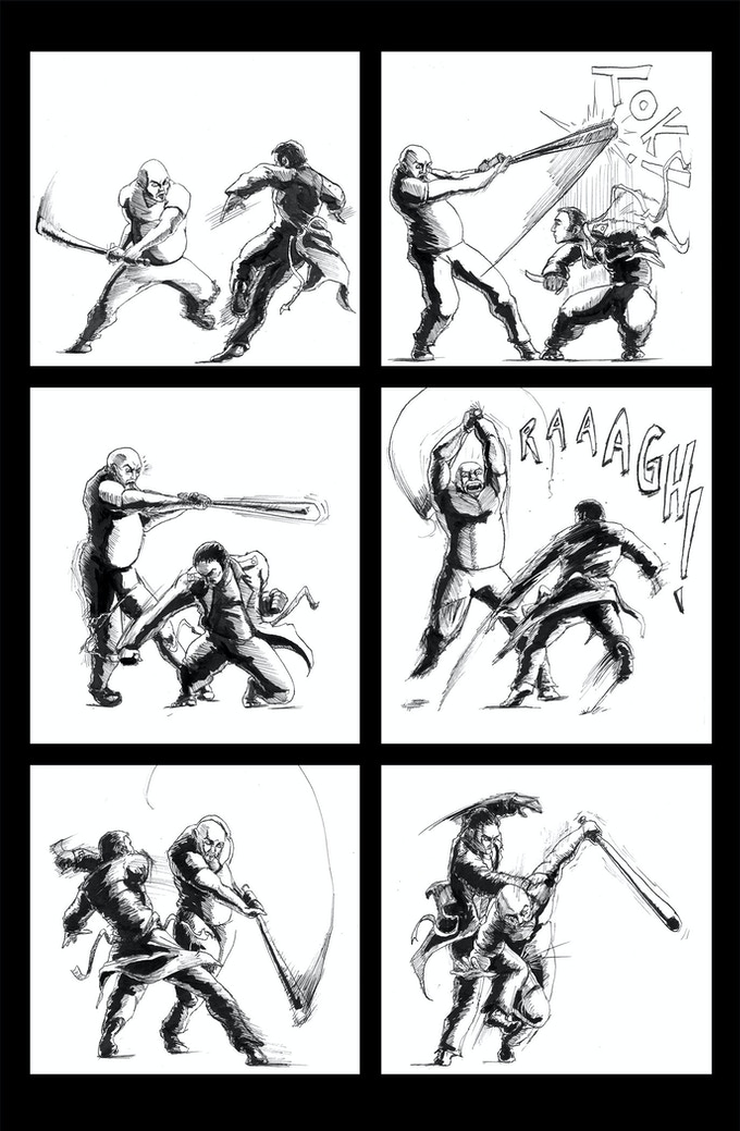 "This is what many of the fight scenes in Unstoppable will look like. Instead of a a bunch of splash pages of a guy/girl punching/kicking another guy/girl (though that will be included) Unstoppable will show 'play-by-plays"" of the action."