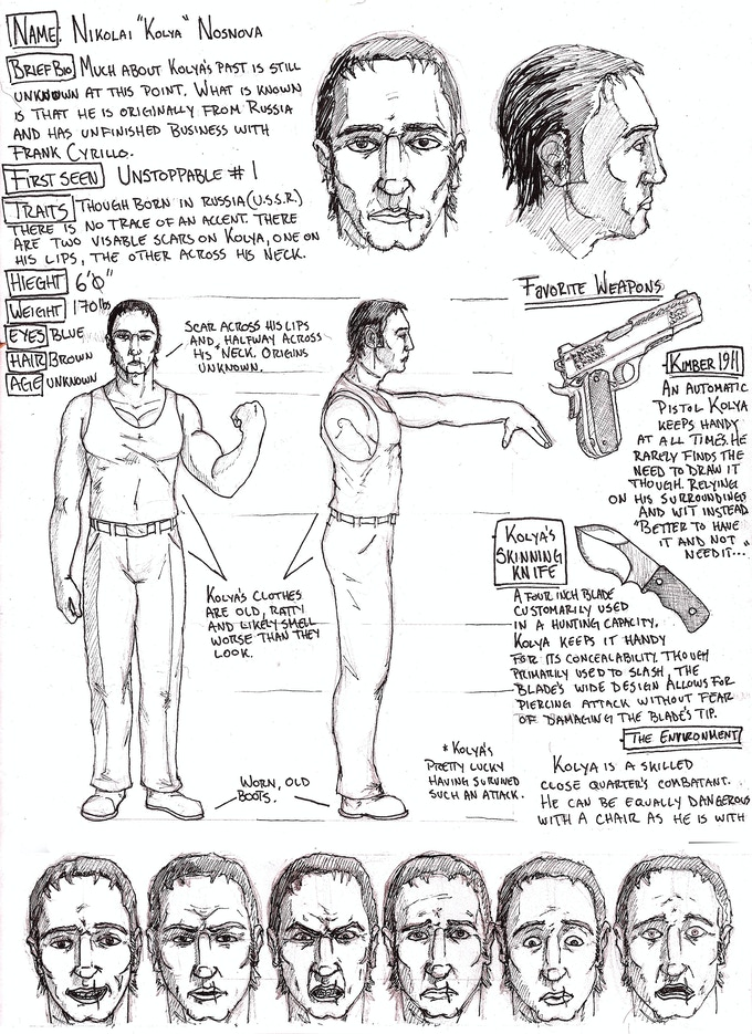 A character reference of Nikolai himself. This is 1 of 30+ bonus pages included in the additional e-copy reward of higher reward levels.