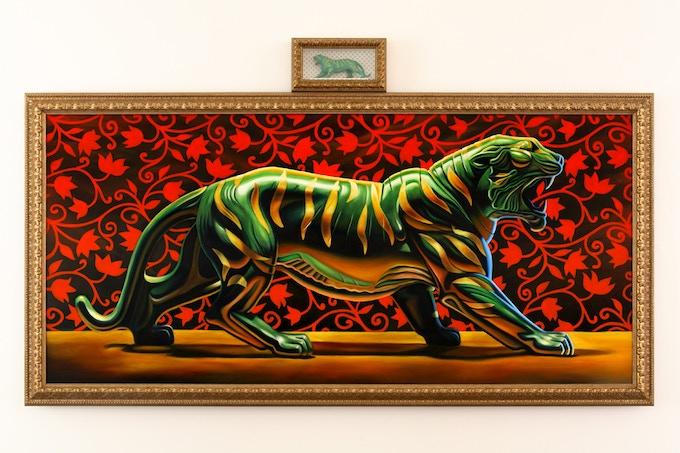 """""""Mattel's Battle Cat"""", 56""""x108"""", oil on canvas"""