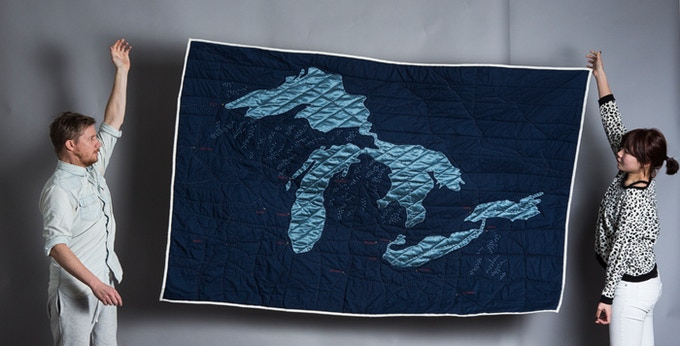 """the Great Lakes Quilt """"mini-Kickstarted"""" in 2012"""
